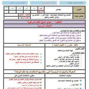 تحضير تربية اسرية سادس ابتدائي بطريقة مشروع وحدات الملك عبدالله