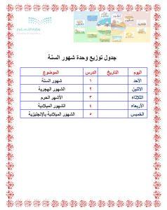 جدول توزيع وحدة شهور السنة