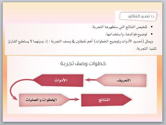 وصف تجربة علمية اللغة العربية
