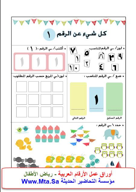 أوراق عمل الأرقام العربية - رياض الأطفال