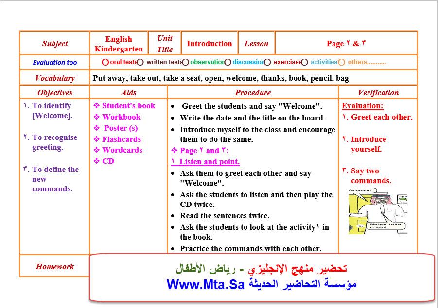 تحضير منهج الإنجليزي - رياض الأطفال