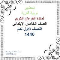 تحضير تربية فكرية لمادة قرآن كريم