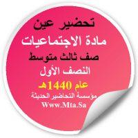 تحضير عين لدرس الدولة السعودية الأولى 1 اجتماعيات ثالث متوسط نصف اول عام 1440