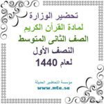 تحضير الوزارة تلاوة سورة المؤمنون من الآية 46-50 مادة القرأن الكريم ثانى متوسط نصف اولعام 1440
