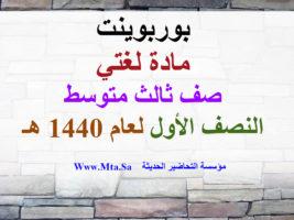 بوربوينت الوحدة الأولى درس واجب الشباب المسلم لغتي ثالث متوسط نصف اول عام 1440
