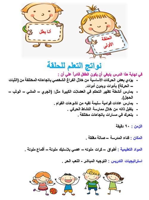نواتج التعلم للحلقة - منهج التربية البدنية رياض اطفال